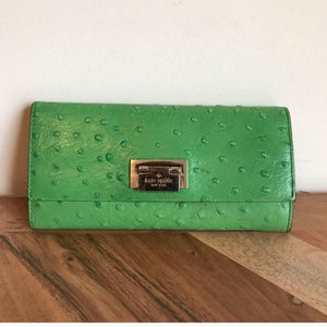 Kate Spade | Green Ostrich Leather Wallet